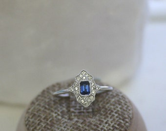 18K solid gold emerald cut sapphire and diamond art deco ring
