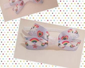 Rainbow and unicorn hair bows