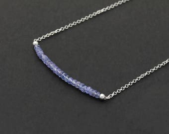 Tanzanite Gemstone Bar 925 Sterling Silver Chain Necklace / Dainty Layering Necklace / December Birthstone Necklace