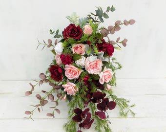Cascading bridal bouquet burgundy peach pink ivory woodland artificial silk flowers rose orchid rustic boho wedding cascade wildflower