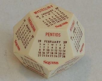 Vintage 1959 Squibb Plastic 12 Sided Advertising Calendar