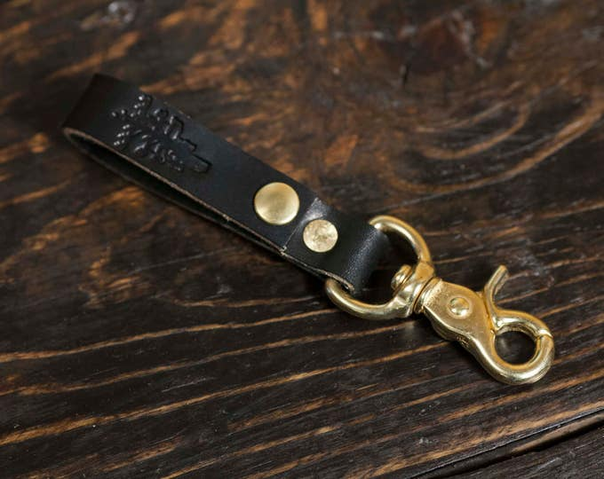 Black English Bridle Leather Belt Loop With Scissor Snap Key Fob Snap Keychain Solid Brass Hardware