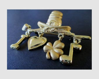 Irish Pin  * Dangle Charms * Pipe * Hat * Shamrock * Heart * Music Note * Letter I * Irish Gift * Signed AJ
