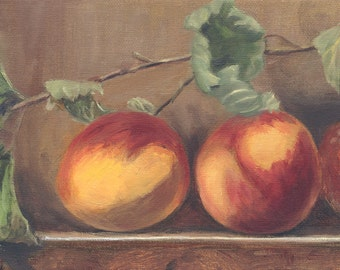 Peaches And Dried Leaves Giclee Print Of My Original Oil Painting