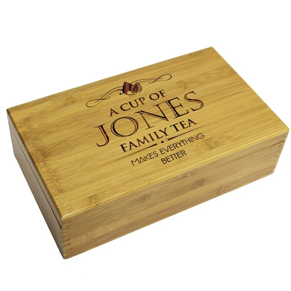 Engraved Tea Chest Tea Caddy Personalized Tea Storage Box