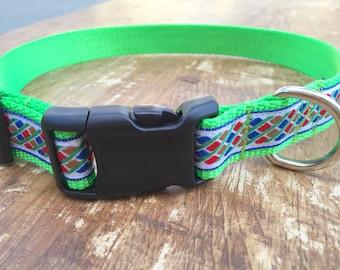 Large Dog Collar, Jacquard dog collar, green dog collar, geometric dog collar, dog collar for girl, dog collar for boy, sublimebirdy
