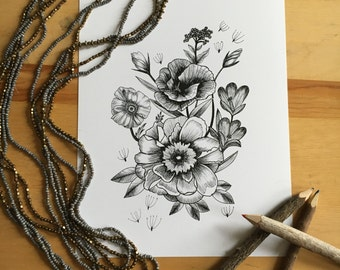 Flower Ink Drawing, Floral Art Print #2 - 8x10