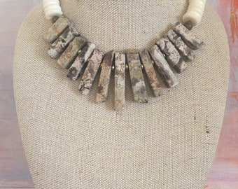 Beige rainforest and bone necklace