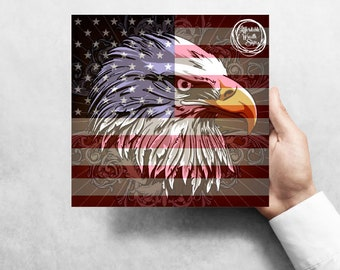 """American Flag, Bald Eagle, Signs For Wreaths, Wreath Attachment, Metal Sign, 8""""x8"""""""