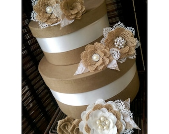 Rustic Burlap And Lace Cake Flowers With Vintage Inspired Brooches & Jewels - Set of 7, Burlap Lace Cake Topper