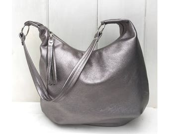 Metallic leather hobo bag, large size, anthracite, grey and silver diamond lining, zipper closure, handmade with genuine leather