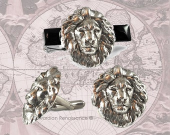 Tie Clip and Cufflinks Set Neo Victorian Antique Sterling Silver Lion Head Safari Vintage Style Leo