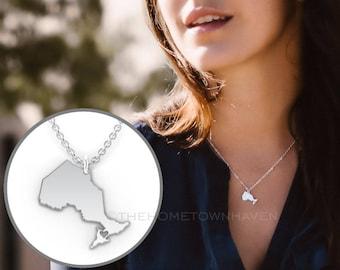 Ontario Necklace - Ontario map necklace, I heart Ontario necklace, Canada necklace