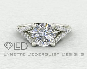 The Zoey Round 1.5 carat Forever One Moissanite and Diamond Split Shank Engagement Ring