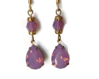Purple Swarovski Pear Crystal Earrings