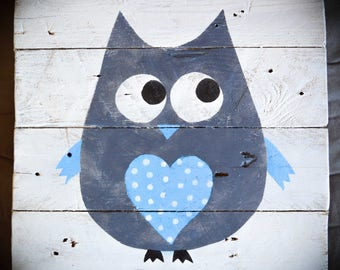 Blue Boy OWL painting - Palette - acrylic painting - kids room Decoration 30x30cm