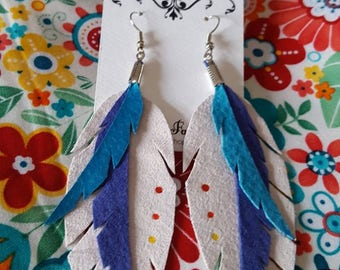 White, Blue, and Turquoise Leather Feather Earrings