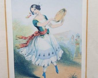 Antique Spanish Esmeralda Lady Print in Frame