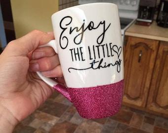 Enjoy the little things, sparkle, glitter mug