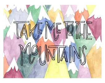 digital TO THE MOUNTAINS art print for baby nurseries, kids rooms, and beyond!
