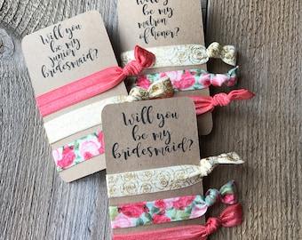 5 pack - Bridesmaids hair ties, bridesmaid gift, will you be my bridesmaid, hair ties, flower gold hair ties, wedding gift, bridal party