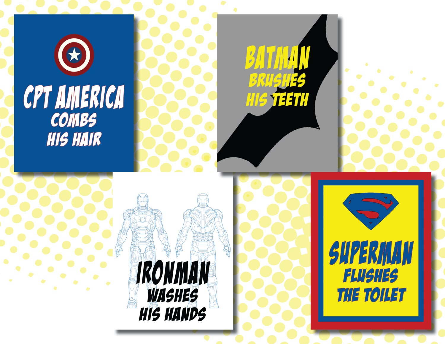 Set of superhero bathroom signs with batman ironman zoom jeuxipadfo Image collections