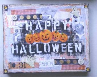 Happy Halloween Mixed Media Canvas