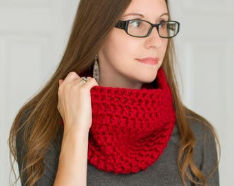 Crimson Crochet Thick Infinity Scarf // Soft  Acrylic Yarn // Chunky Red Scarf // Fall Winter Accent Handmade Scarf // Ready to Ship