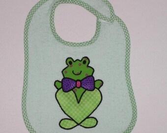 Handmade Baby Bib - Toddler Bib - Frog - Applique - Terrycloth Toddler Bib