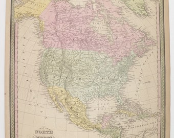 1852 North America Map, Original Antique Map, North America Handcolored Map, Mitchell Cowperthwait Map, United States Map, Canada Mexico Map