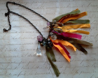Boho necklace with colourful Textilsstreifen and Vintageperlen of metal and acrylic, Ooak