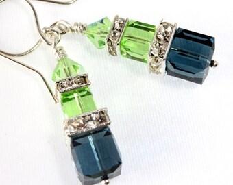 Swarovski Crystal Cube Earrings, Sterling Silver, Montana Blue and Peridot, Bridal Earring, Wedding Accessories, Bridesmaid Earring