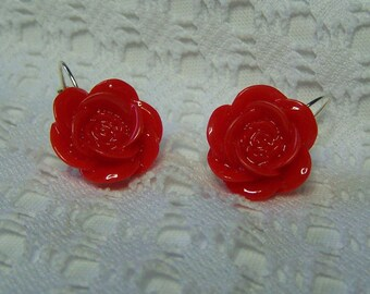 Red Rose Earrings, Ruby Red Rose Earrings, Flower Earrings, Gardener Gift, 3D Red Roses Earrings, Summer Jewelry, Rose jewelry - Red Roses