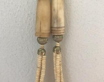 Vintage 1970s Ivory Bone Ethnic Silver Multistrand Necklace