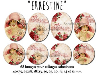 """Digital images for digital """"Ernestine"""" for cabochon jewelry collage"""