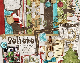 "Christmas Digital Scrapbook Kit - ""Believe in the Magic"" holiday digital with santa, sleigh, reindeer and ornaments for scrapbook layouts"