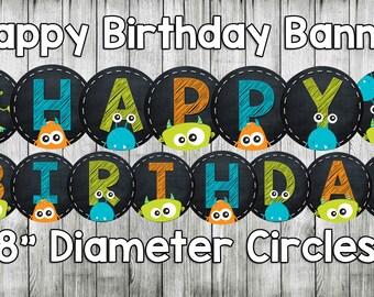monster birthday party, birthday banner, monster birthday banner, monster banner, monster happy birthday banner, printable