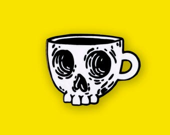 Coffee Skull Enamel Pin - Hard Enamel Lapel Pin