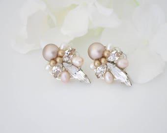 Art Deco earrings, Blush bridal earrings, Pink wedding earrings, Swarovski crystal and pearl earrings, Bridesmaid earrings