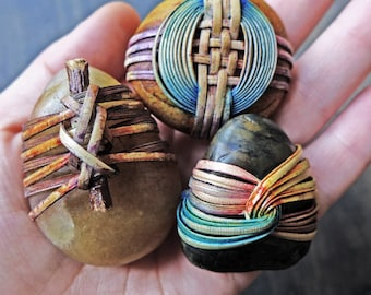 Zen stone trio- cane reed wrapped river rocks with Japanese basketry knots- knick knacks, paperweights