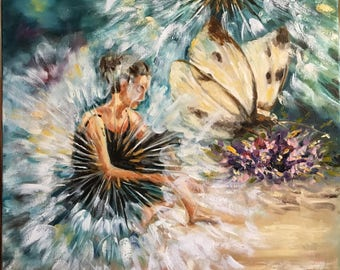 oil painting on canvas 40x40sm, painting, oil, canvas, surrealism, symbolism, girl, flowers, oil painting, realism, shop of paintings,