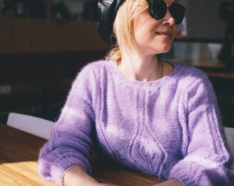 mohair hand made pullover with pattern