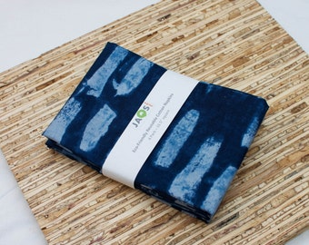 Large Cloth Napkins - Set of 4 - (N4481) - Blue Navy Modern Reusable Fabric Napkins