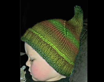 Knitting Pattern Whimsical Curled Long Pointed Beanie Cap Gnome Tail Flat Knit Easy