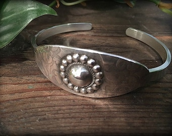 Flowers and Lace - Heavy Sterling Silver Cuff Bracelet