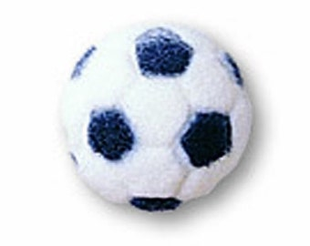 Edible Soccer Ball Sugar Pieces / Cupcake Toppers / Soccer Ball Icing Decorations