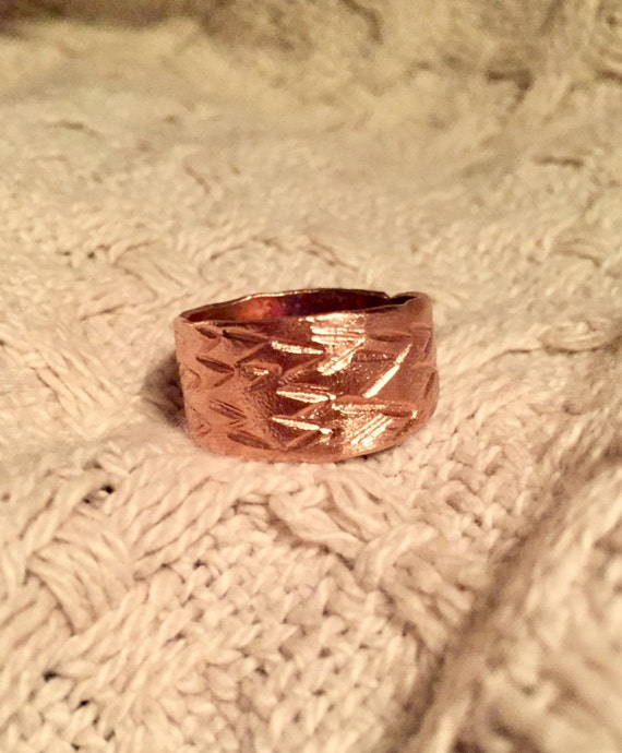 "Copper ""v"" hand stamped ring"