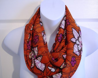 Red Floral Print Infinity Scarf Women Fashion Scarves Flowers Unique Scarf Single Loop Circle Scarf Red Black White