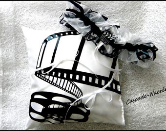 cushion film black and white satin wedding garter Wedding Veil