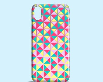 Neon Triangles phone case / iPhone X, iPhone 8, Mosaic iPhone 7, iPhone 7 Plus, iPhone 6, iPhone 5/5S, Samsung Galaxy S7, S6, Galaxy S5